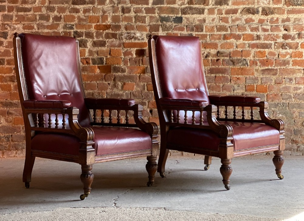pair of english antique oak leather library armchairs circa 1860
