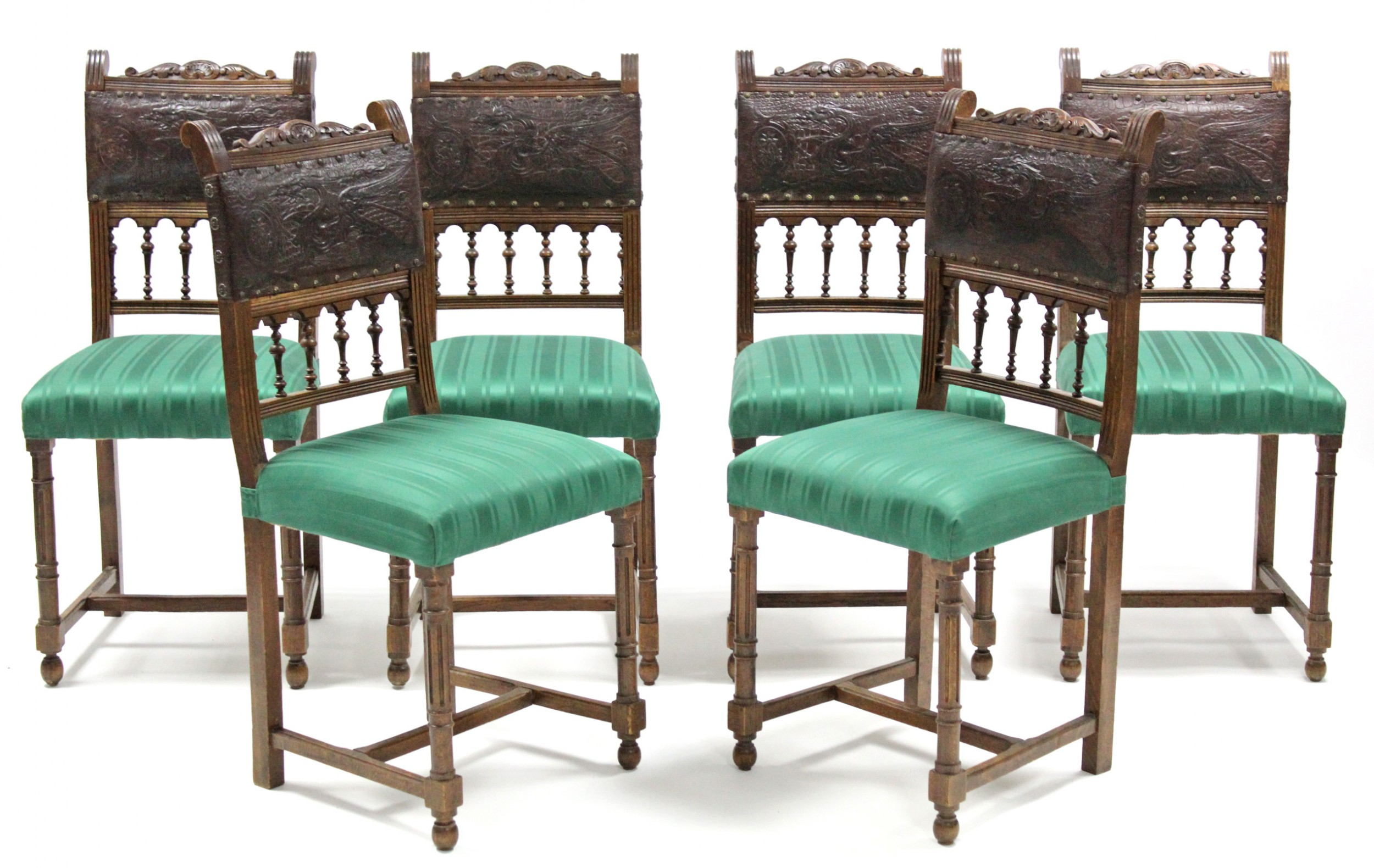 Fine Antique Italian Dining Chairs Set Of Six Oak Leather Italian Caraccident5 Cool Chair Designs And Ideas Caraccident5Info