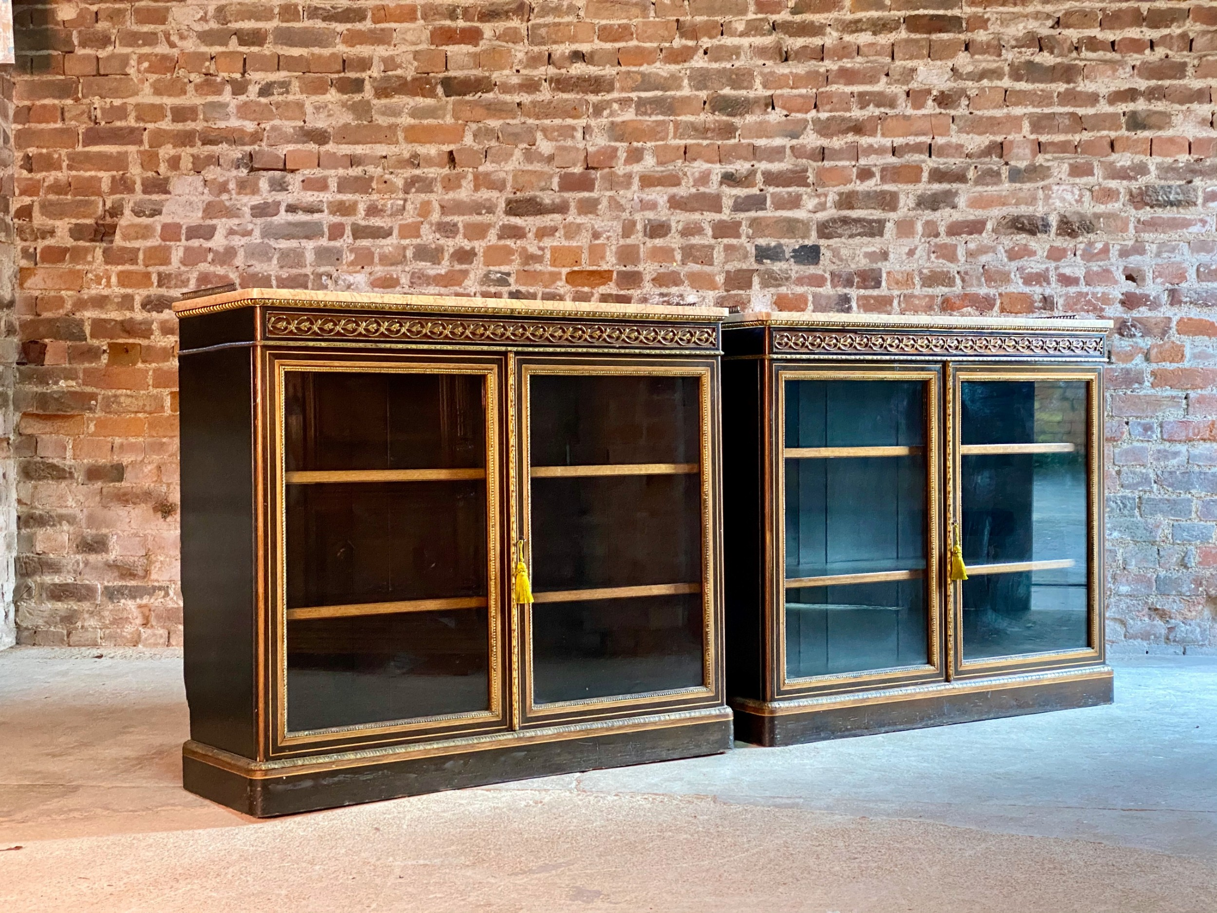 james lamb of manchester pair of ebonised walnut gilt metal mounted pier cabinets circa 1850