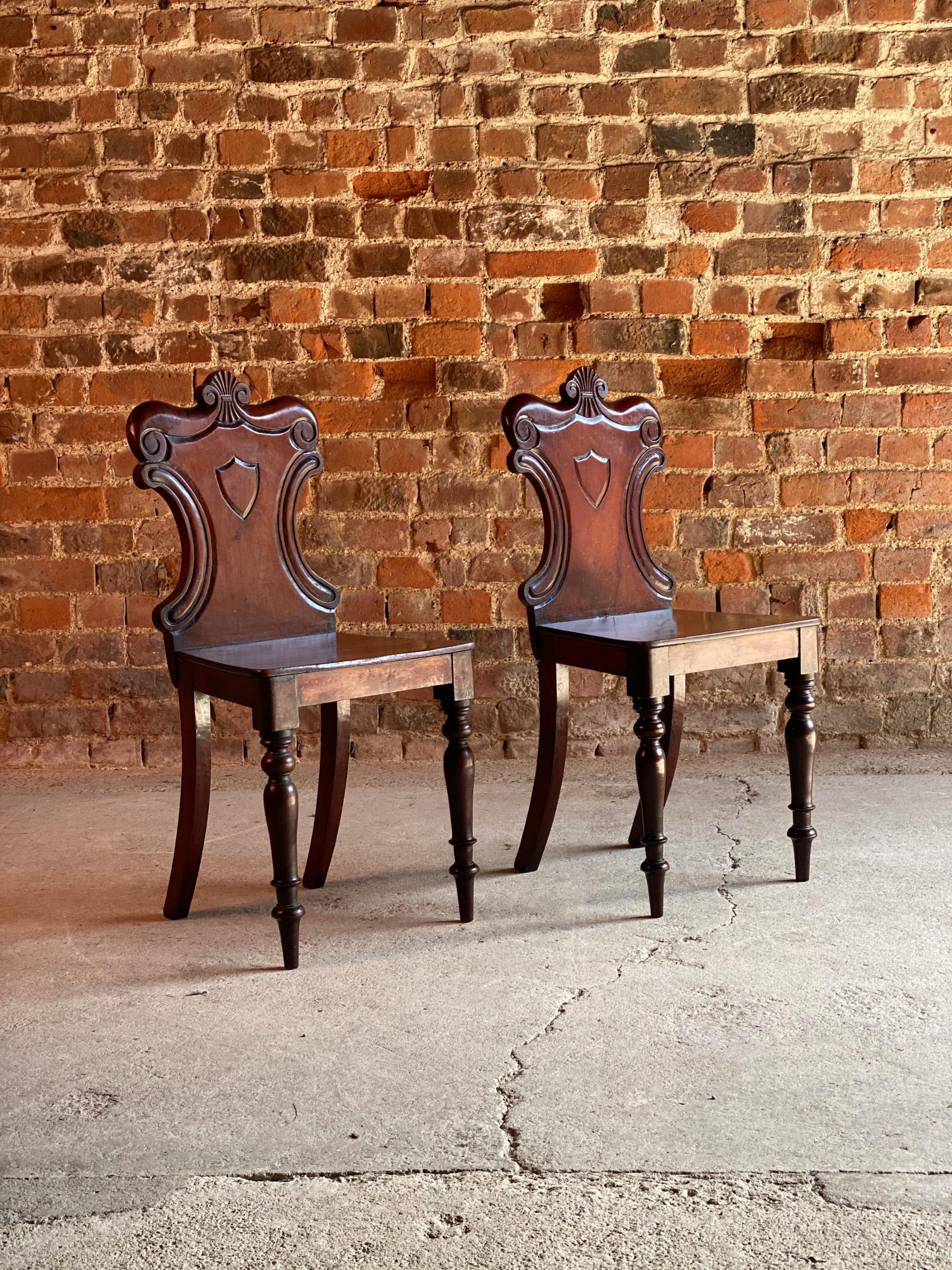 stunning pair of early 19th century victorian mahogany hall chairs circa 1825