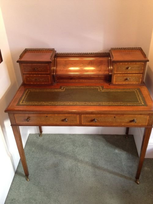 Edwardian inlaid mahogany desk by co for Asian furniture tottenham court road
