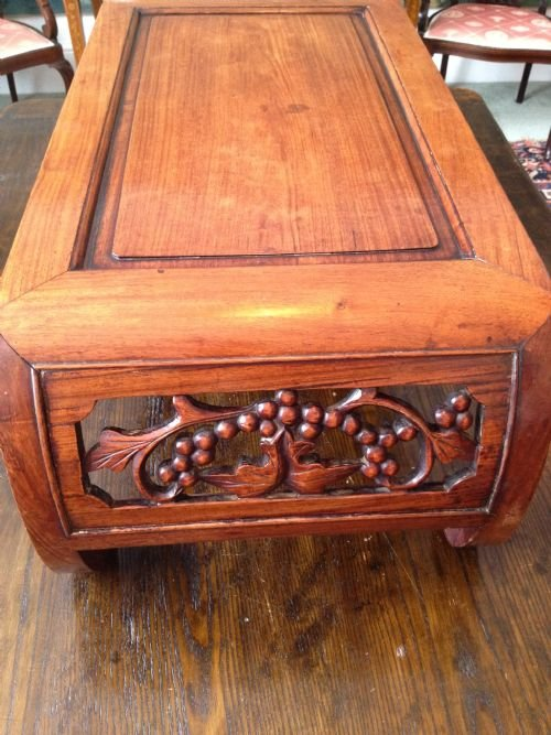 Chinese padouk scroll end opium coffee table 173472 for Antique scroll coffee table