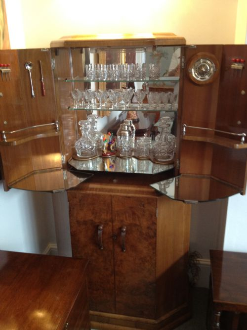 Stylish Art Deco Cocktail Cabinet Plus Glassware 184034