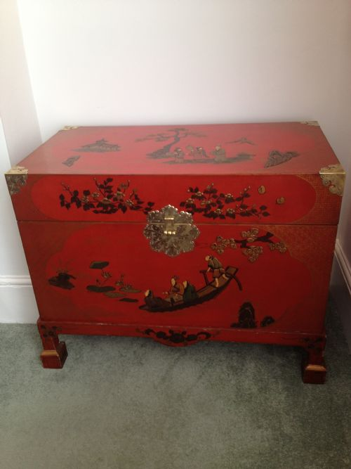Red Laquer Chinese Style Chinoiserie Storage Trunk Coffee Table 185522