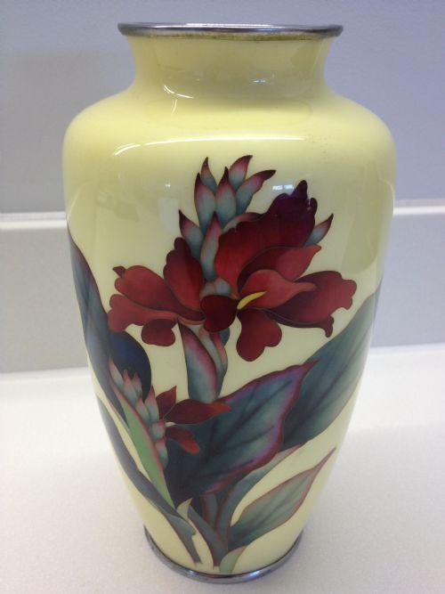 Japanese Yellow Ground Cloisonne Vase Signed Ando 229520