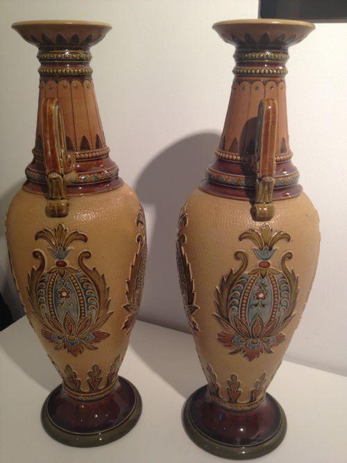 fine pair of mettlach villeroy and boch vases 256735. Black Bedroom Furniture Sets. Home Design Ideas