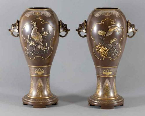 high quality pair of japanese bronze mixed metal vases by masayuki
