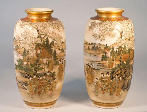 large pair of japanese satsuma vases by ryozan