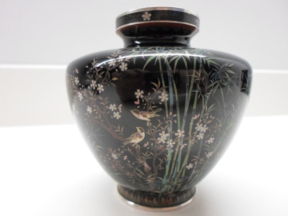 Gold Wire Japanese Cloisonne Vase Meiji Period 305938