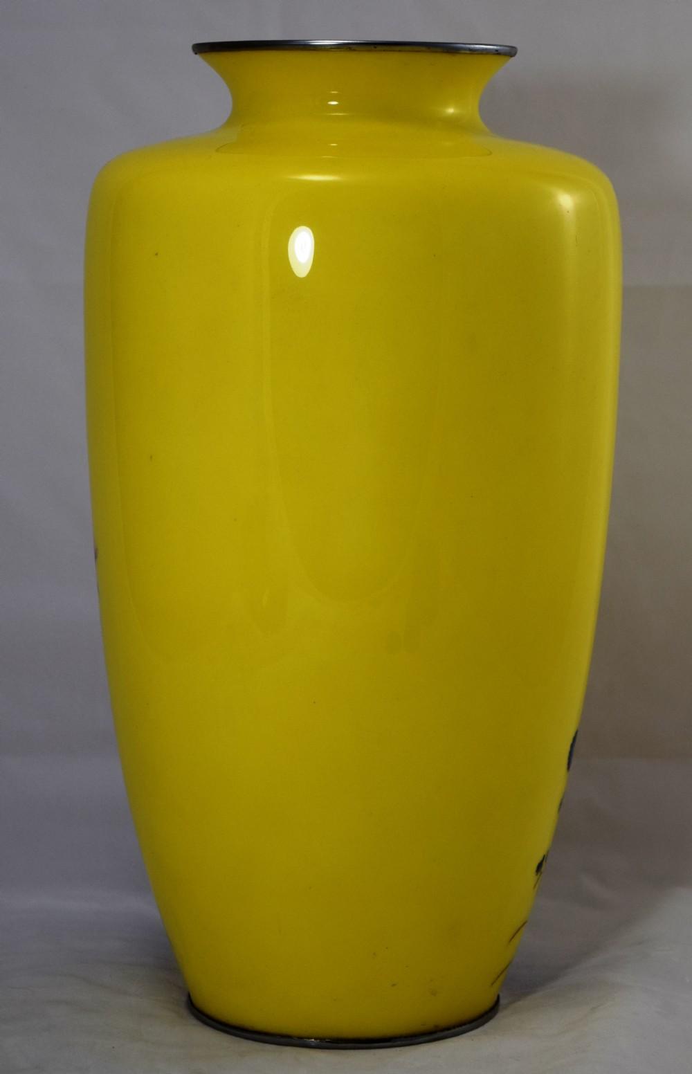 Large Striking Yellow Ground Japanese Cloisonne Vase 325611 Sellingantiques Co Uk