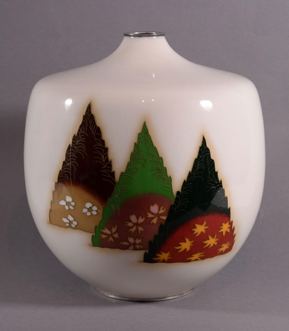 large unusual japanese cloisonne enamel vase by ando company