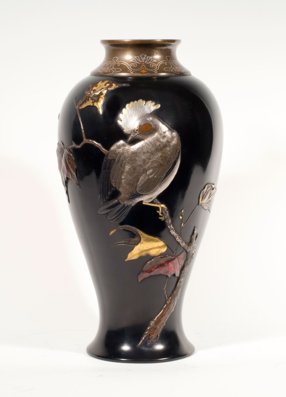 japanese mixed metal onlaid vase artist signed suzuki chokichi kako