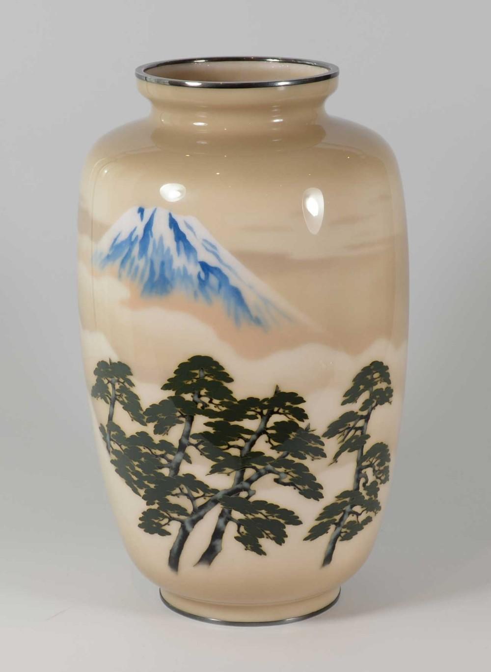 large japanese cloisonne enamel vase mt fuji ando jubei company