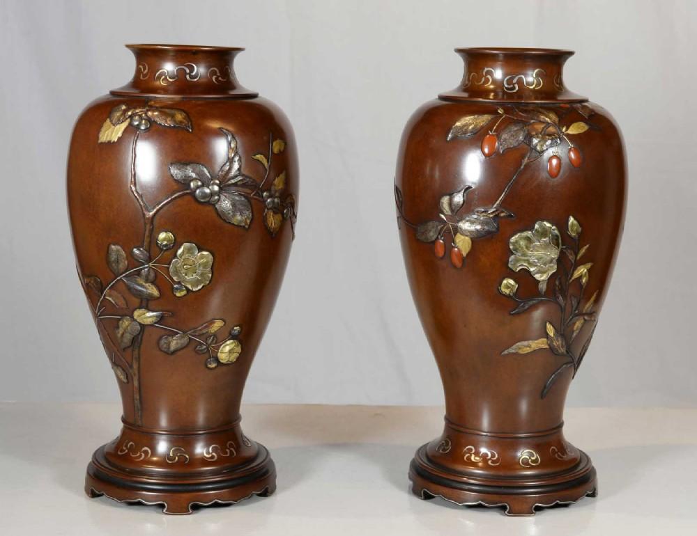 pair of japanese bronze mixed metal vases suzuki chokichi kako