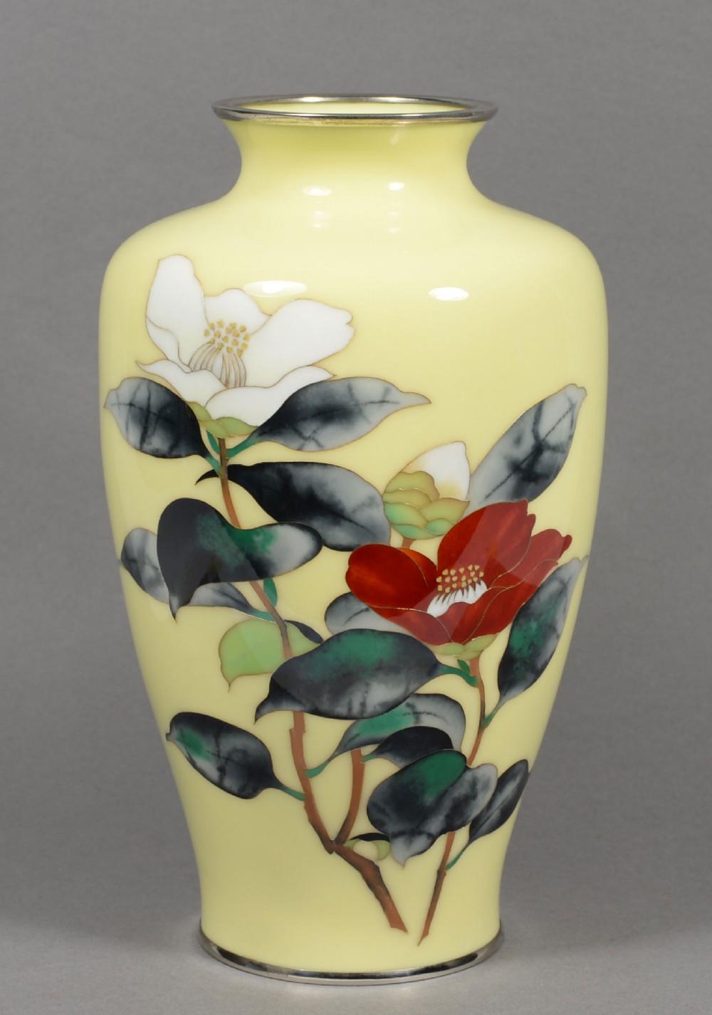 japanese cloisonne enamel floral vase by ando