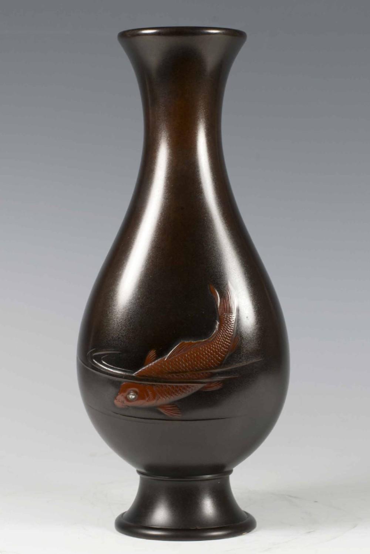 japanese mixed metal carp vase by okubo shuko nogawa company