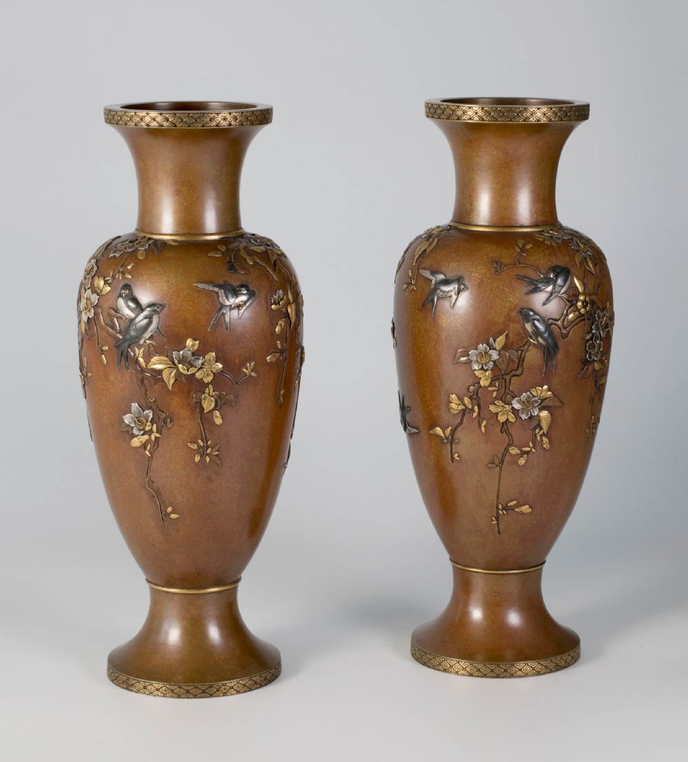 japanese bronze mixed metal vases by inoue of kyoto