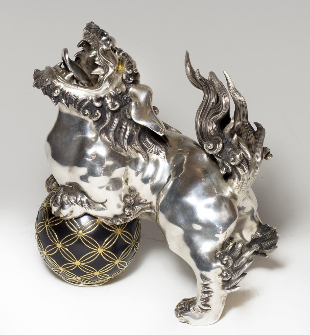japanese cast silver shi shi incense burner koro kazumi