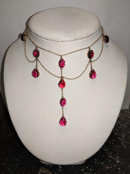 9ct gold garnet dress necklace