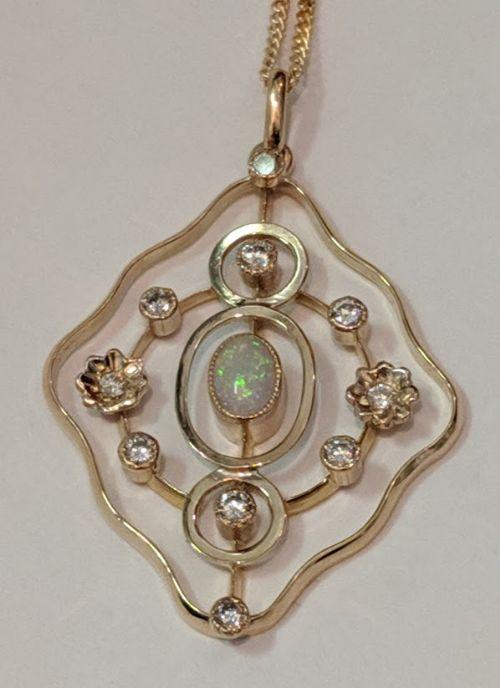art nouveau opal and diamond necklace