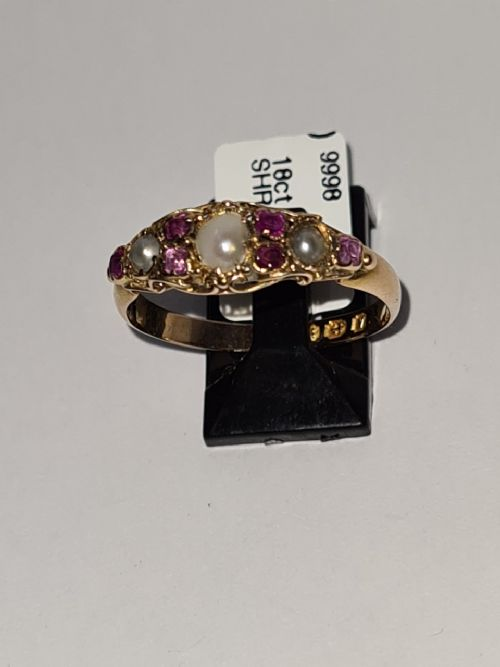 18ct gold seed pearl and ruby ring