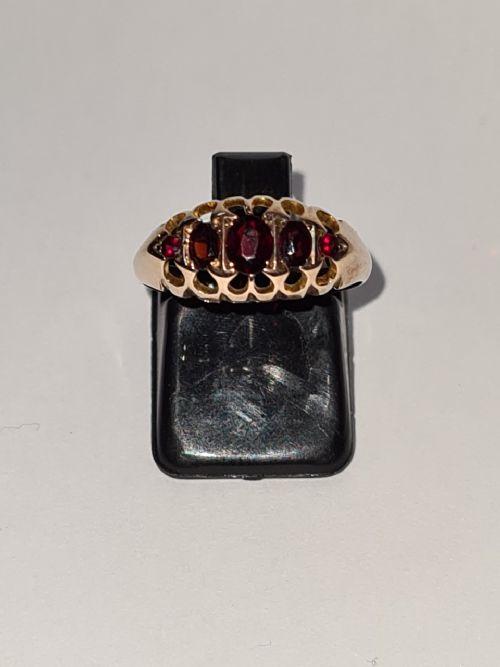 9ct gold 5 stone garnet ring hallmarked 1939