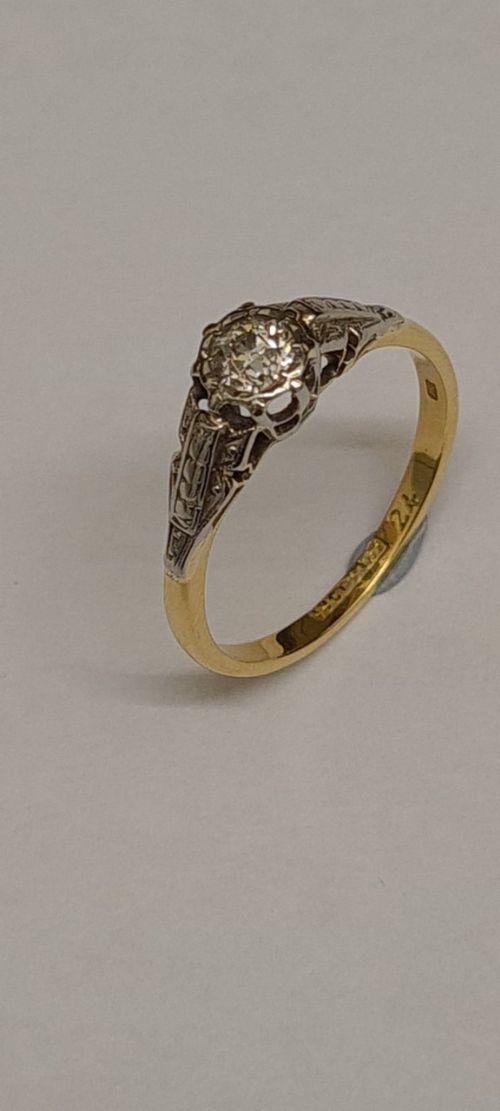 18ct goldplatinum old cut diamond solitaire ring