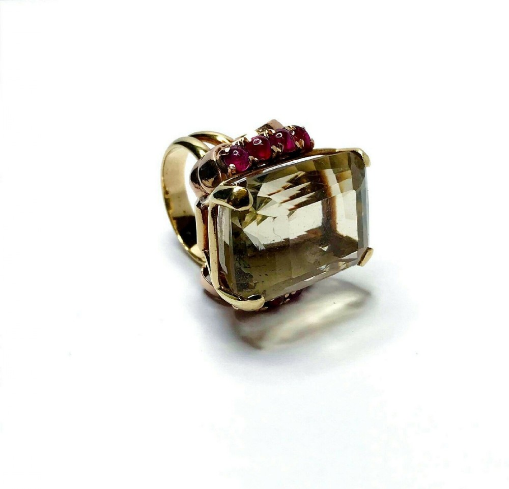 14ct yellowrose gold ruby and quartz ring