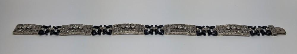 18ct white gold diamond and enamel bracelet