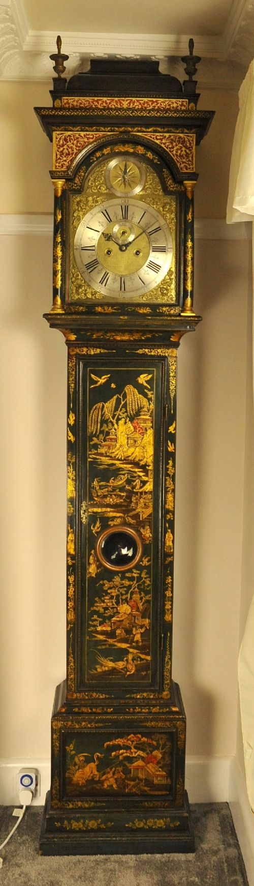 windmills green lacquer chinoiserie longcase grandfather clock