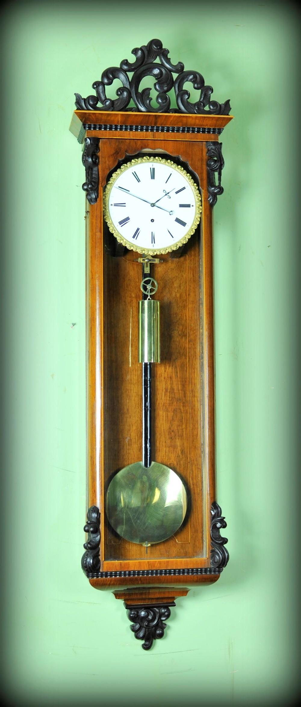 Month Duration Biedermeier Vienna Regulator Wall Clock