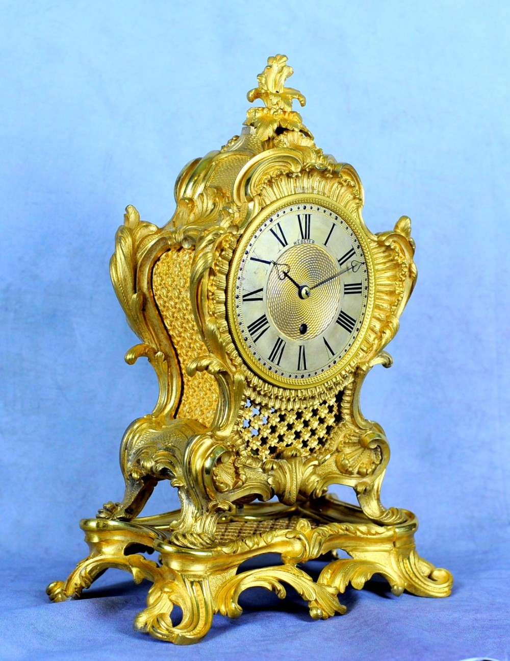 fine english ormlou fusee mantle clock webster of london