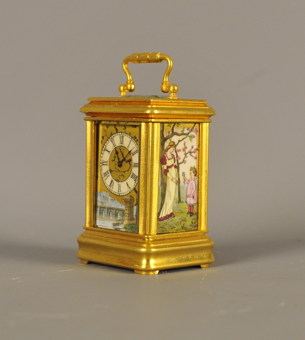 miniature carriage clock with porcelain panels