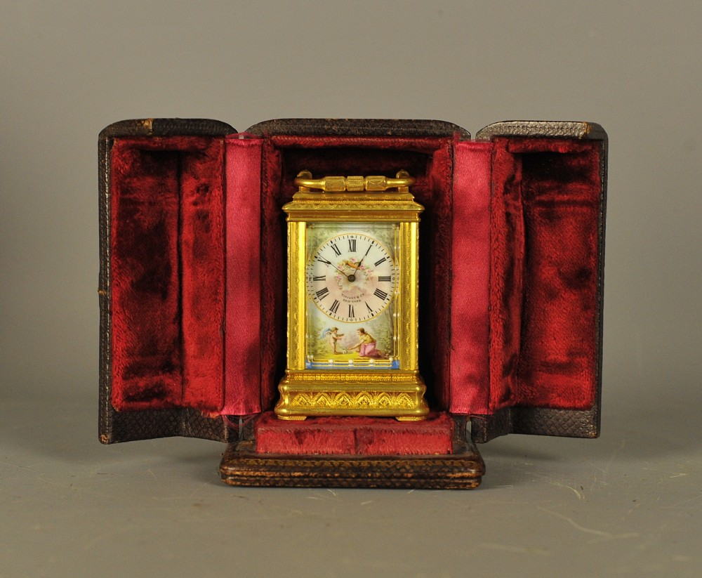 miniature engraved gorge case carriage clock with porcelain panels