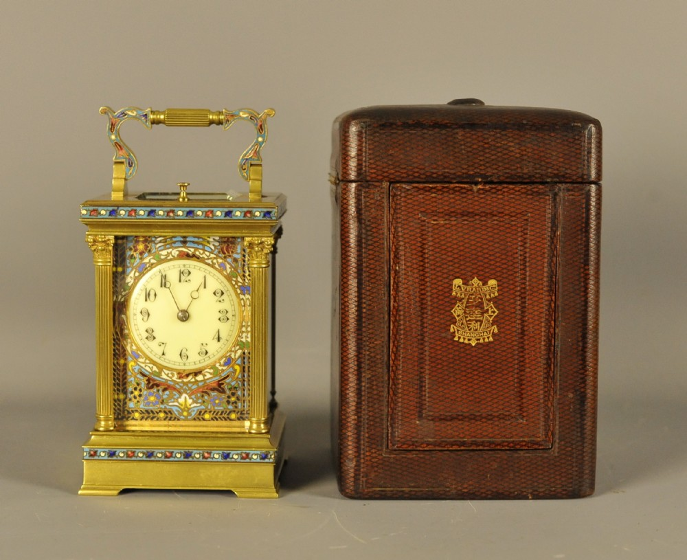 champleve repeating carriage clock with original case