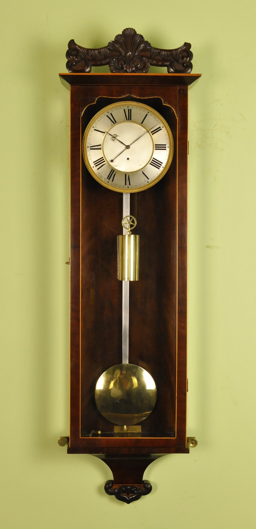 early biedermeier vienna regulator wall clock silk suspension