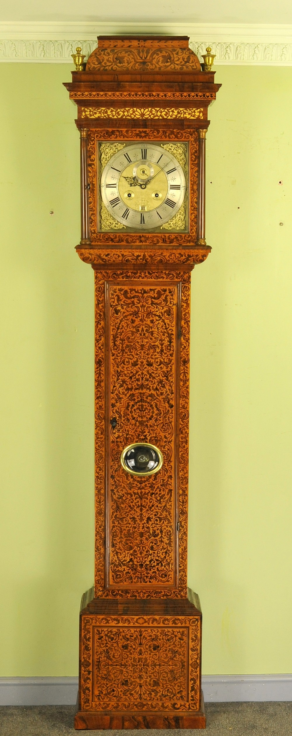 fine month marquetry longcase grandfather clock bird london