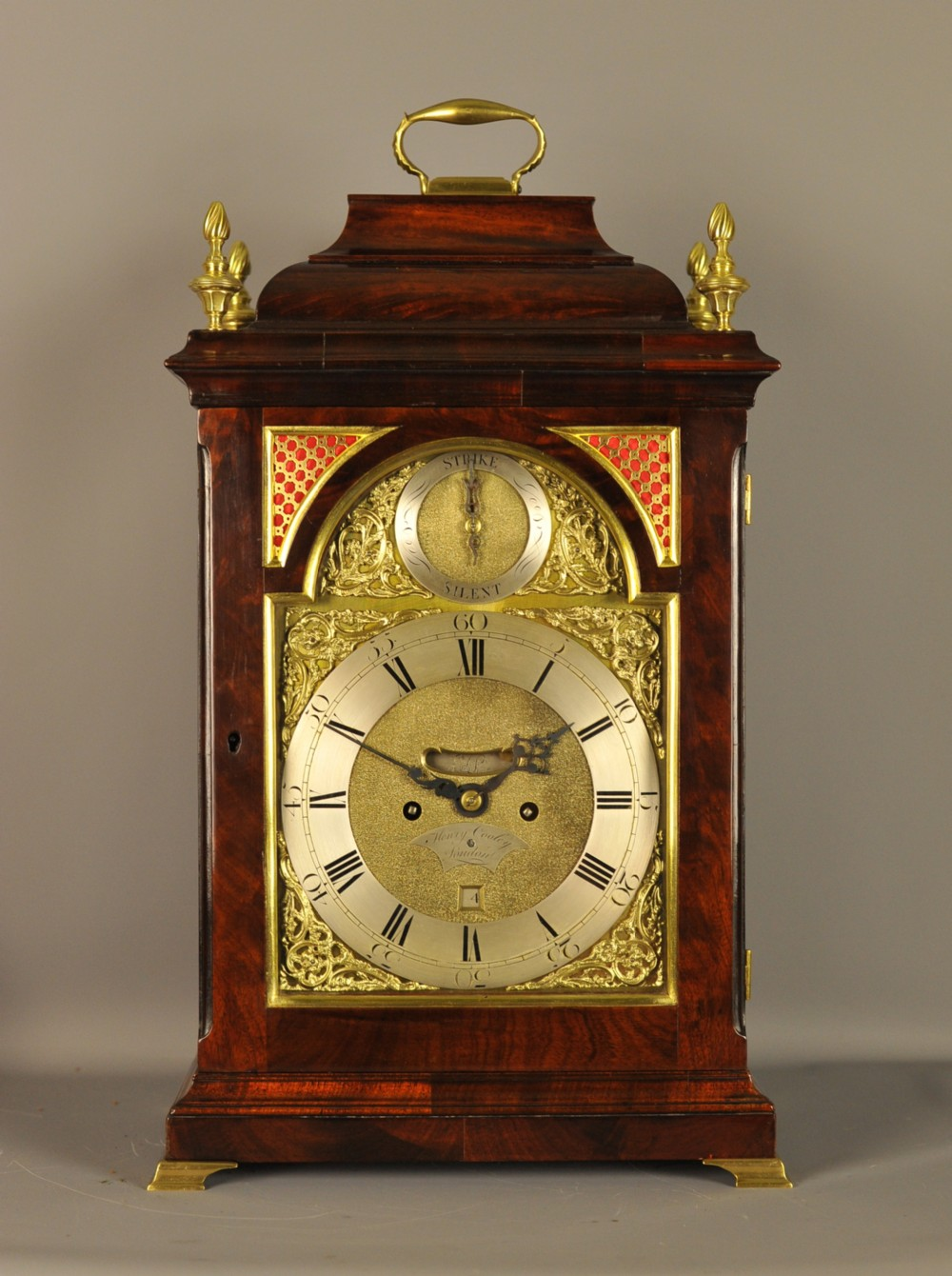 mahogany verge fusee bracket clock henry cooley london
