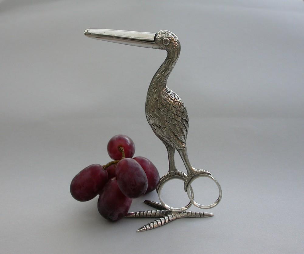 pair victorian cast silver stork grape scissors by joseph willmore birmingham 1839