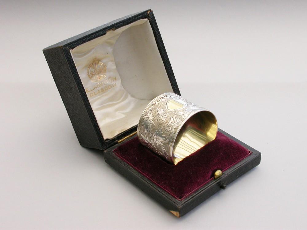 cased victorian parcel gilt silver napkin ring exotic bird by frederick elkington birmingham 1878