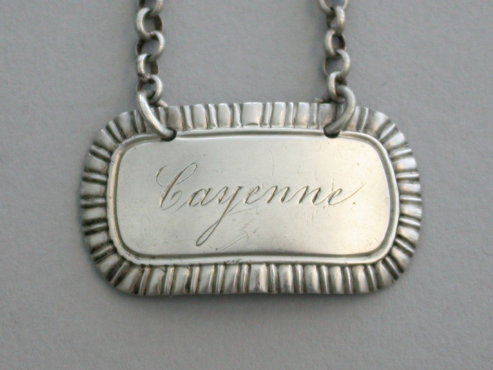 george iv silver sauce label 'cayenne' by george pearson london 1821