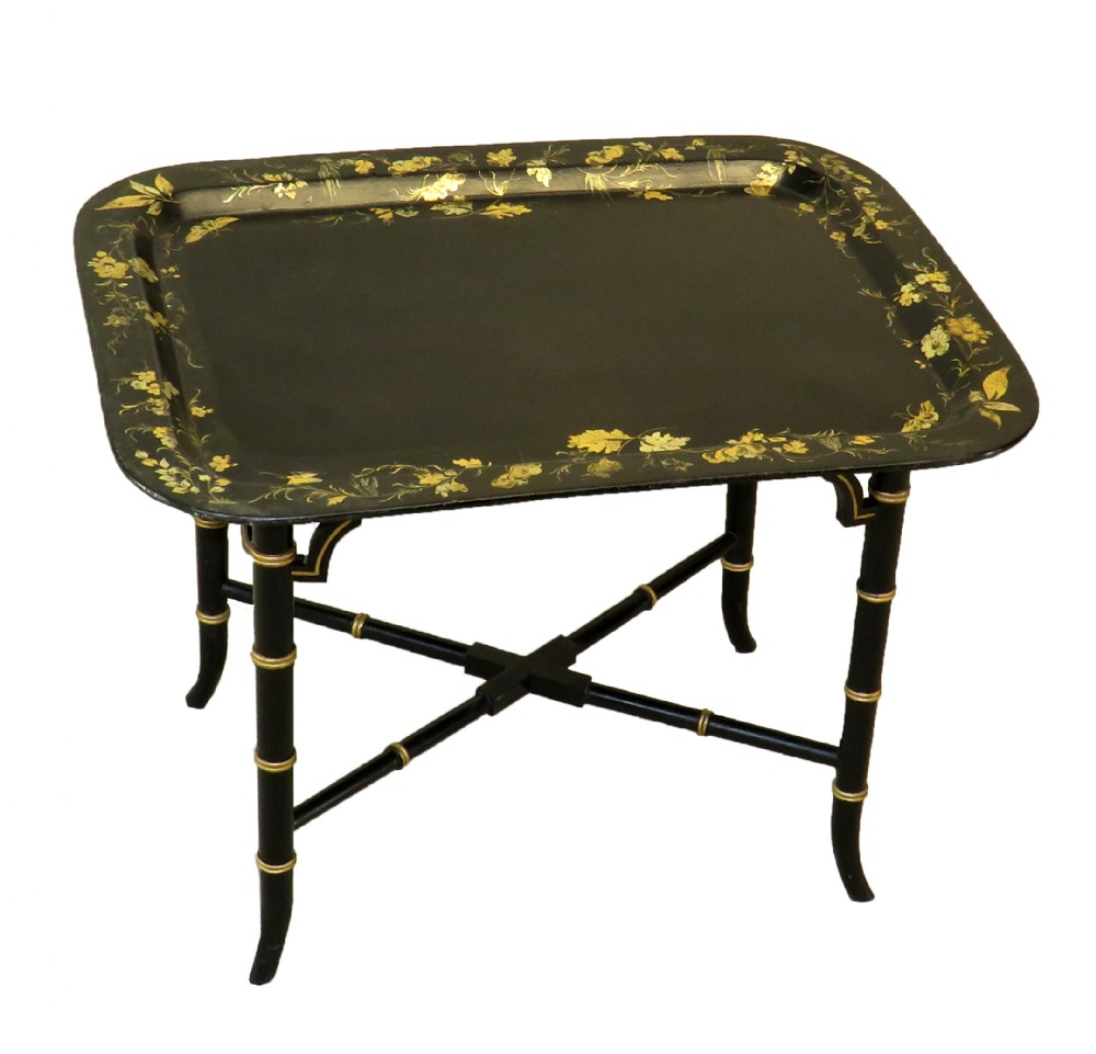 antique regency oblong papier mache tray on stand