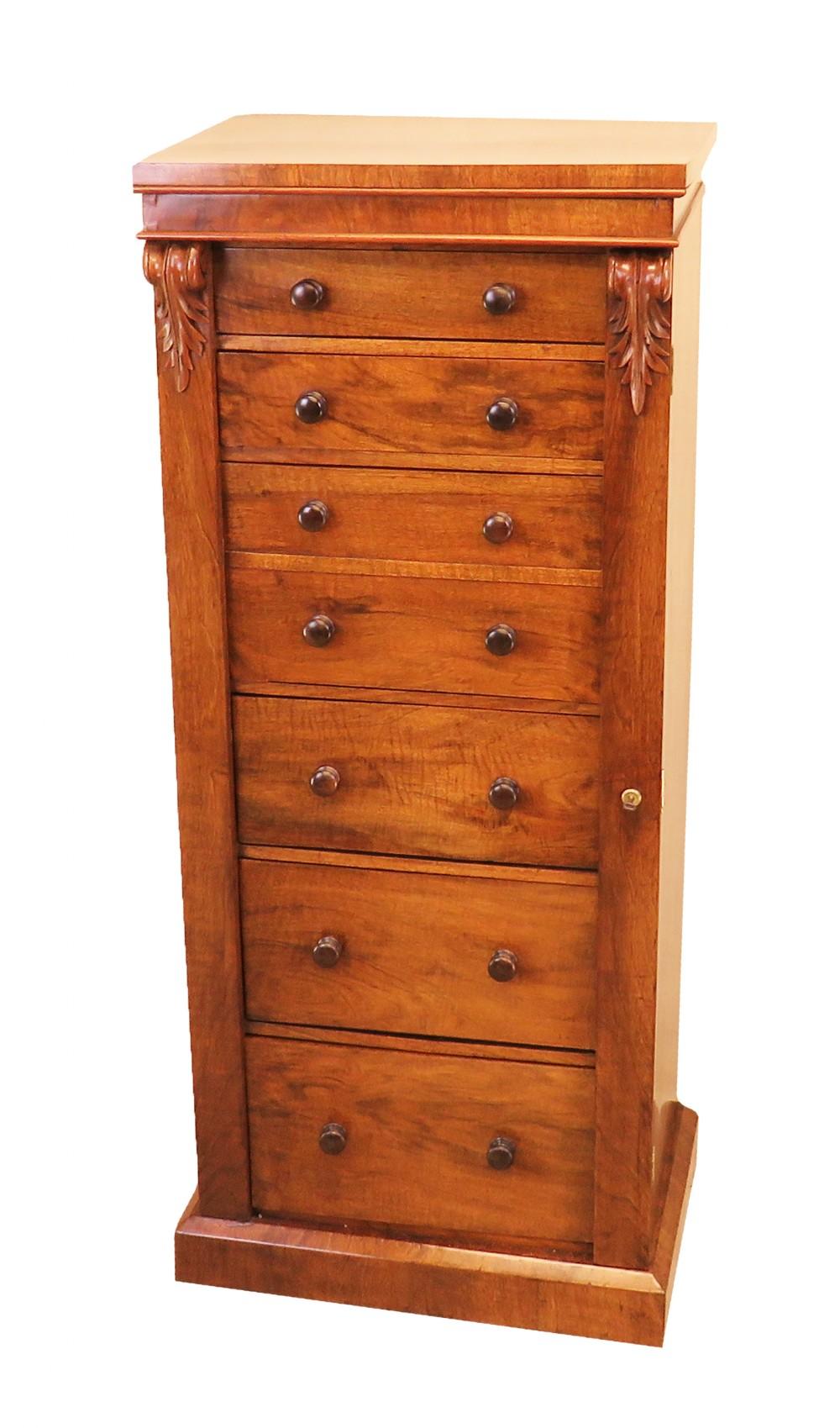 english mid 19th century antique walnut wellington chest of drawers
