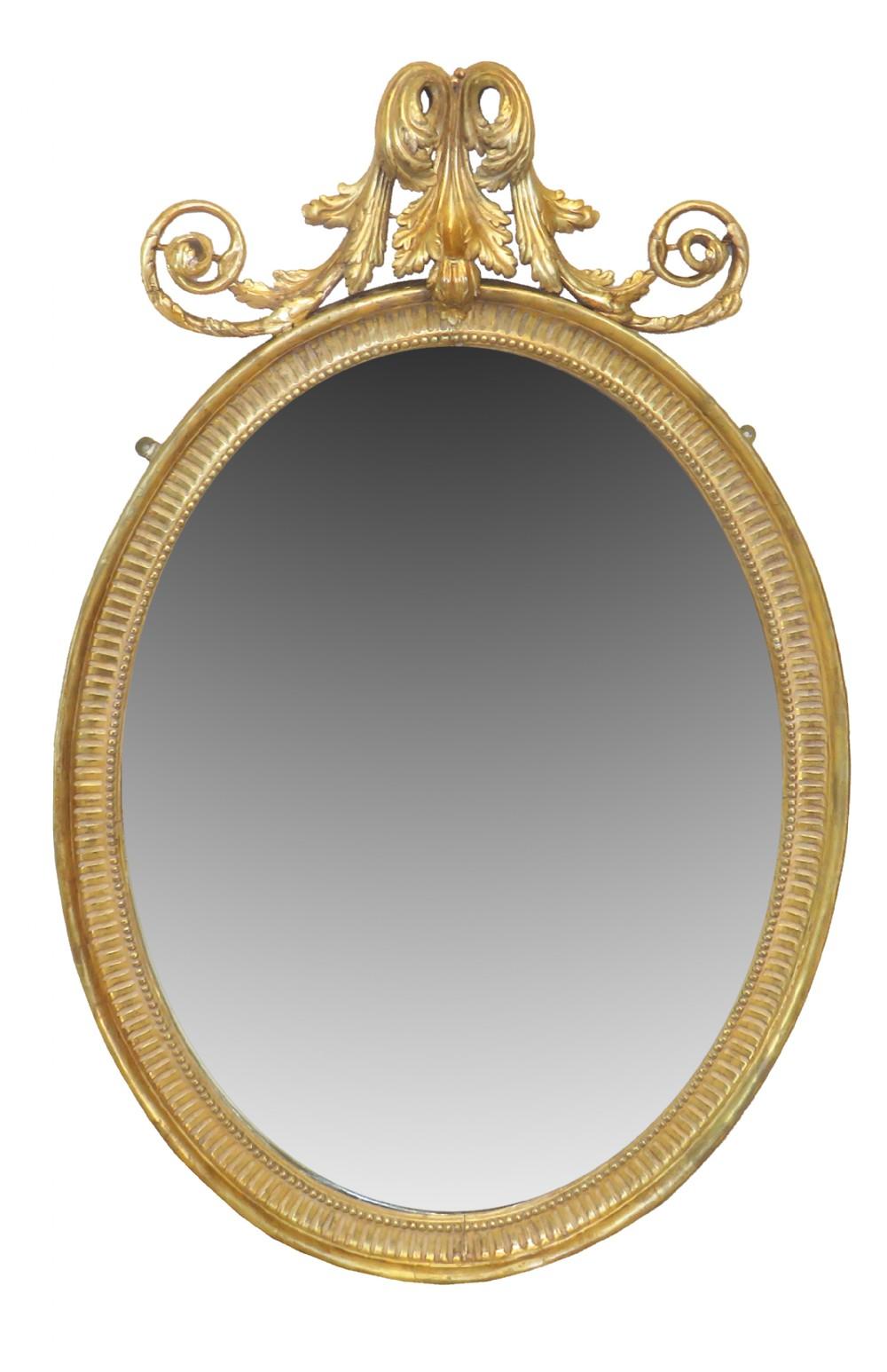 18th century english oval gilt pier mirror