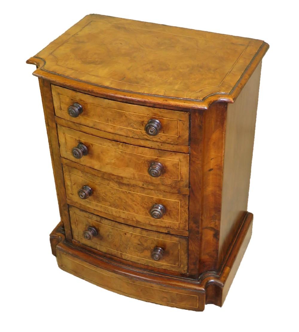 mid 19th century burr walnut miniature chest of drawers