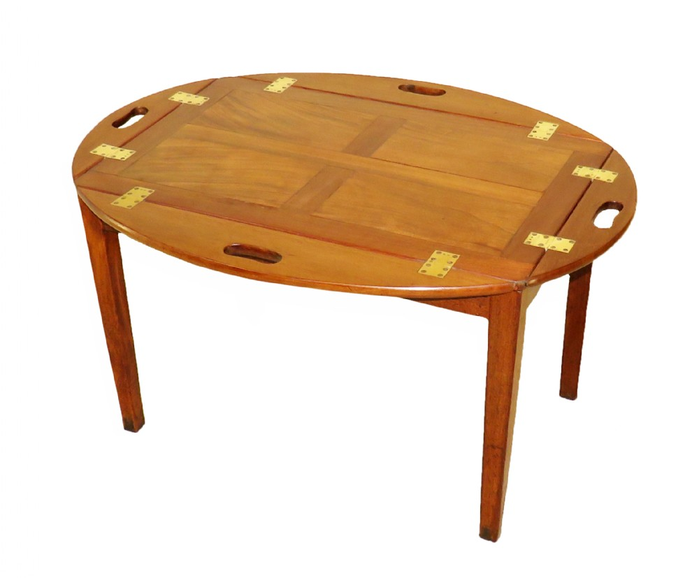 georgian mahogany oval butlers tray on stand coffee table