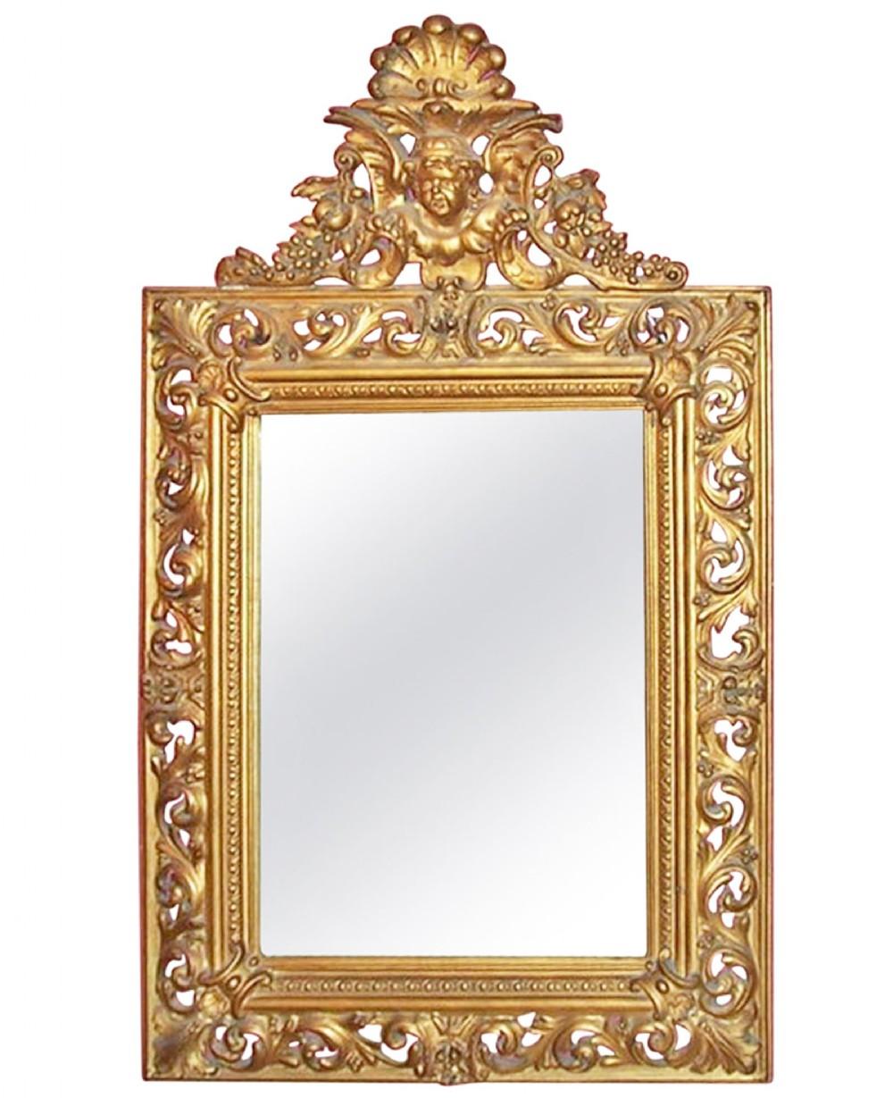 mid 19th century italian giltwood gesso wall mirror