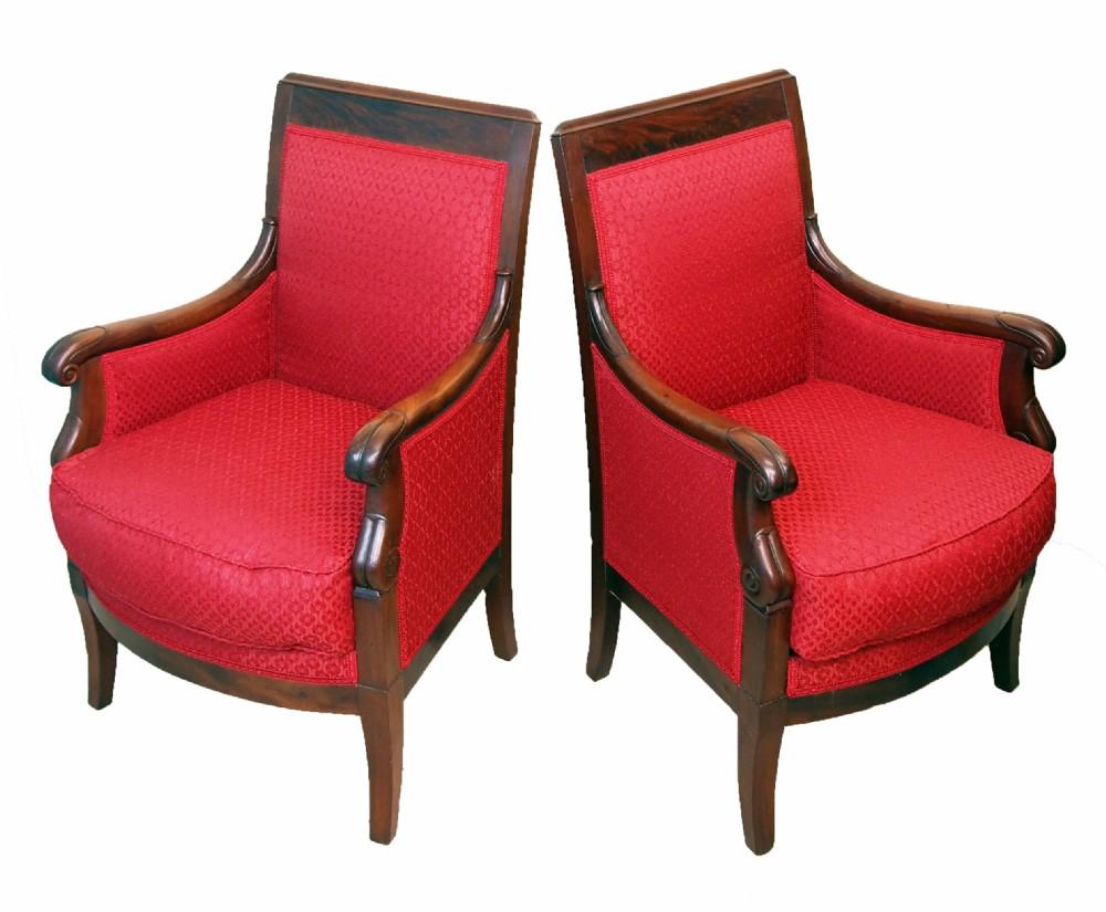 19th century mahogany pair of library armchairs