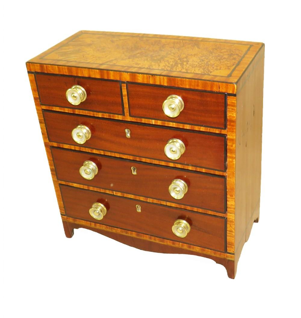 regency mahogany satinwood miniature chest of drawers