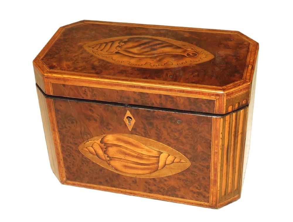 georgian 18th century burr yew wood octagonal tea caddy